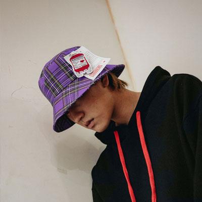 【2XADRENALINE】Check Bucket Hat / Purple