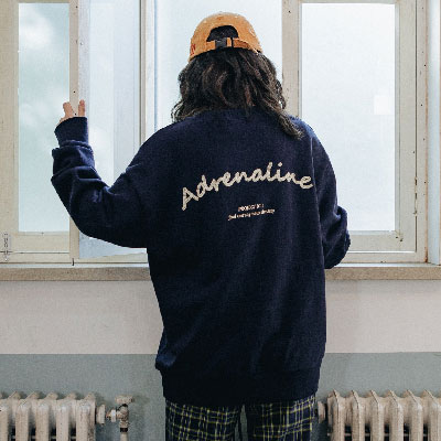 【2XADRENALINE】Chain Back Point Sweat Shirt / Navy