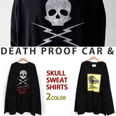 [UNISEX] DEATHPROOF CAR&BACK SKULL PRINT SWEATSHIRTS(2color)