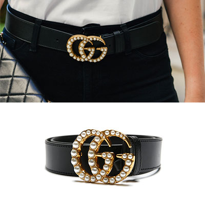 [UNISEX] LUXURY PEARL GOLD TWIN LOGO BELT