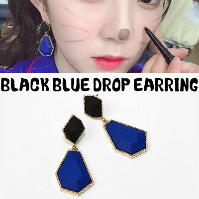 [UNISEX] REDVELVET style. BLACK BLUE DROP EARRING