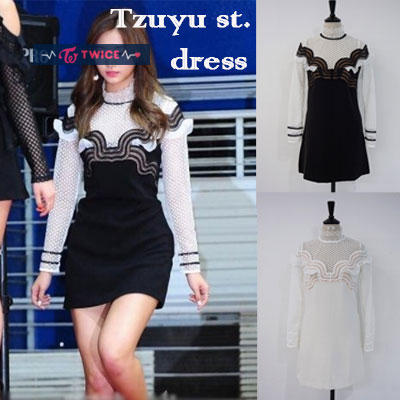 TWICE style.SELF LACE MINI DRESS(2color,2type)