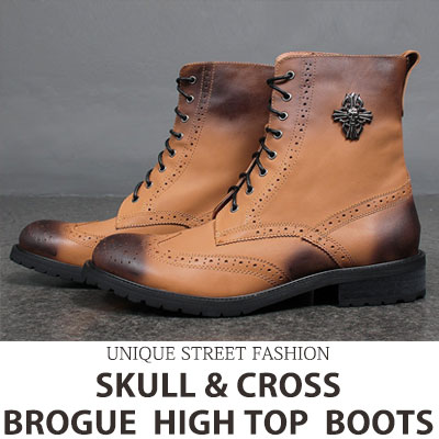 [26.5~28.0cm] SKULL&CROSS BROGUE HIGH TOP BOOTS