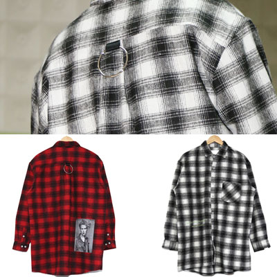 [UNISEX] SNAP PHOTO & RING POINT CHECK SHIRTS(2color)