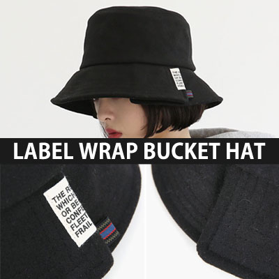 [UNISEX] ENGLISH LETTERING LABEL WRAP BUCKET HAT(3color)