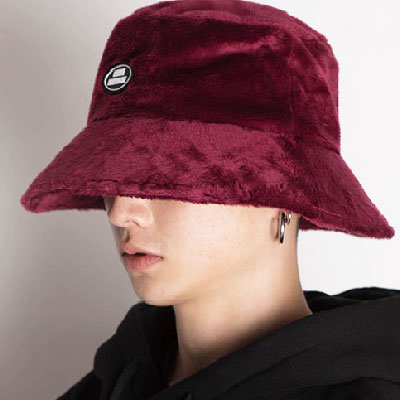 【2XADRENALINE】Oversized Fur Bucket Hat - Burgundy