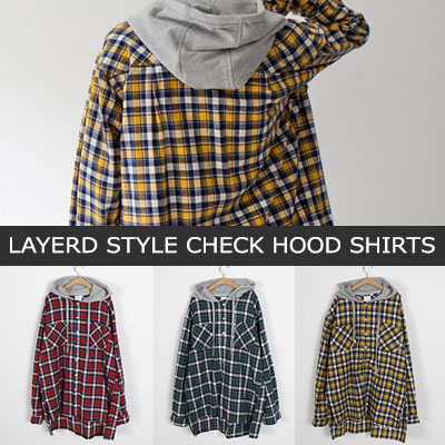 [UNISEX] LAYERD STYLE CHECK HOOD SHIRTS(3color)