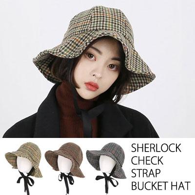 SHERLOCK CHECK STRAP BUCKET HAT(3color)