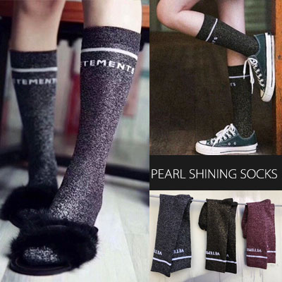 [WOMAN] SIMPLE LINE & LOGO PEARL SHINING SOCKS(3color)
