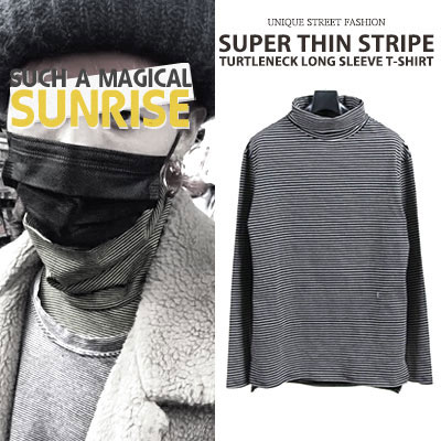 [UNISEX] BIGBANG/GD/G-DRAGON STYLE SUPER THIN STRIPE TURTLENECK LONG SLEEVE(3color)