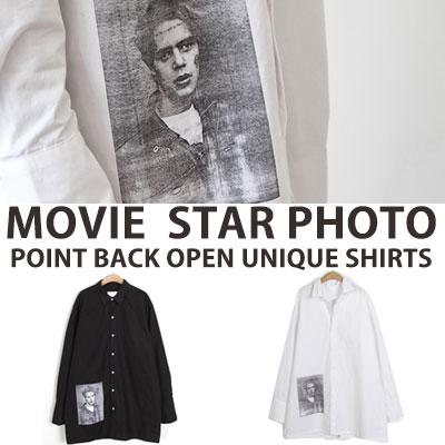 [UNISEX] MOVIE STAR PHOTO POINT BACK OPEN UNIQUE SHIRTS(2color)