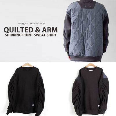 [UNISEX] QUILTED ARM SHIRRING POINT SWEATSHIRTS(2color)