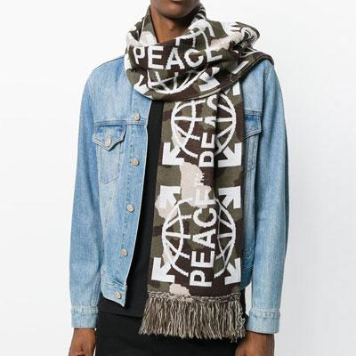[UNISEX] PEACE EARTH WHITE LOGO CAMO MUFFLER