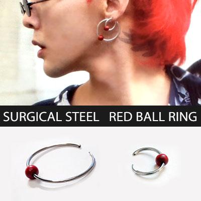 [unisex][2ea/1set]BIGBANG G-DRAGON/GD st. BIG&SMALL SURGICAL STEEL RING RED BALL