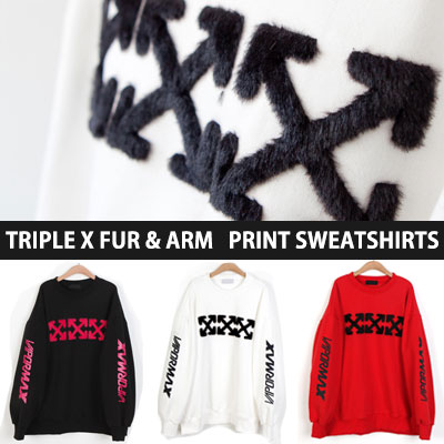 [UNISEX] TRIPLE X FUR ARM PRINT SWEATSHIRTS(3color)