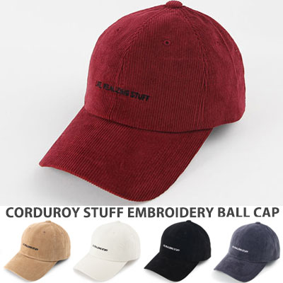[UNISEX] CORDUROY STUFF EMBROIDERY BALL CAP(5color)