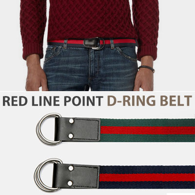 [UNISEX] RED LINE POINT D-RING BELT(2color)