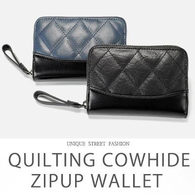 [COWHIDE] QUILTING COWHIDE ZIPUP WALLET (2color)