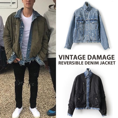 Justin Bieber/Kendall Jenner st. VINTAGE DAMAGE REVERSIBLE DENIM JACKET(2color)