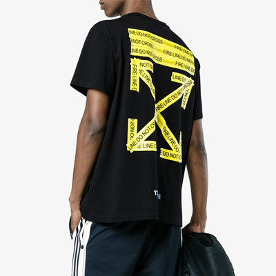 [UNISEX] YELLOW LOGO TAPE POINT SHORT SLEEVE T-SHIRTS(2color2size)