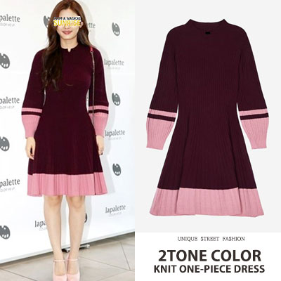 KOREA ACTRESS Kim yoojung st. 2TONE COLOR KNIT ONE-PIECE DRESS