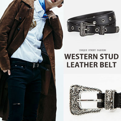 [UNISEX] BTS Jimin/iKON st.WESTERN STUD LEATHER BELT (2type)