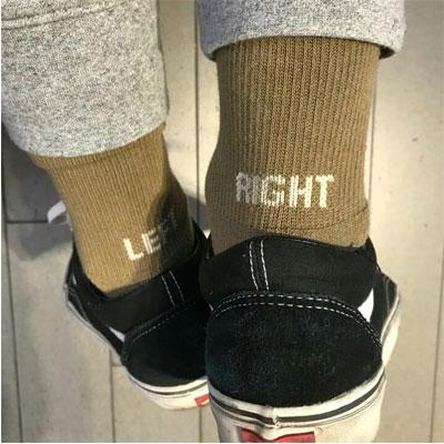 [UNISEX] LEFT&RIGHT LOGO POINT UNIQUE SOCKS(3color)