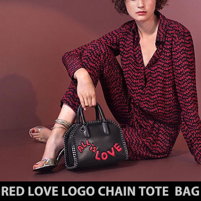 RED LOVE LOGO CHAIN TOTE BAG