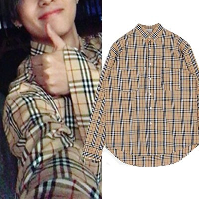 [UNISEX] BTS V,WINNER MINO st. CHECK PATTERN LONG SLEEVE SHIRTS(2color)