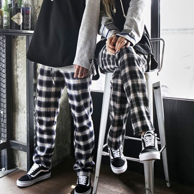 [UNISEX] [COTTON 100%] WHITE&BLACK CHECK WIDE PANTS
