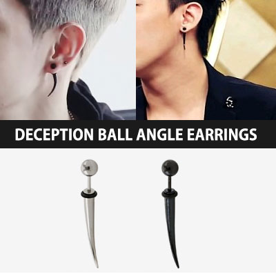 BIGBANG, GOT7 |! Korea idle wear popular design item ☆☆ Surgical steel material Deception ball angle earrings (1ea)