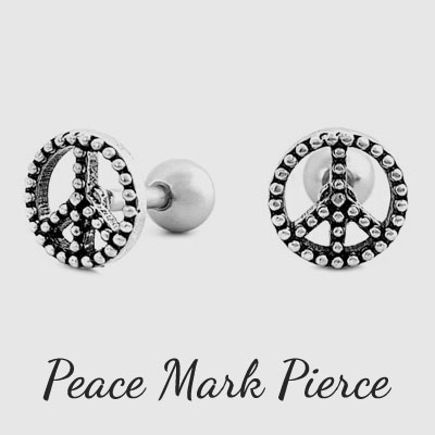 [1ea]PEACE MARK BALL PIERCING