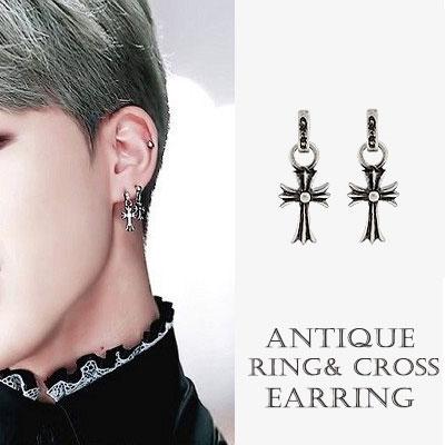 BTS JIMIN st. ANTIQUE RING / CROSS EARRING