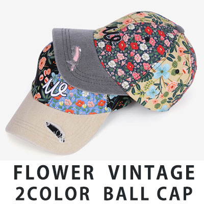 [UNISEX] FLOWER VINTAGE 2COLOR BALL CAP(2color)