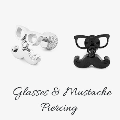 [1ea] GLASSES/MUSTACHE PIERCING(2color)