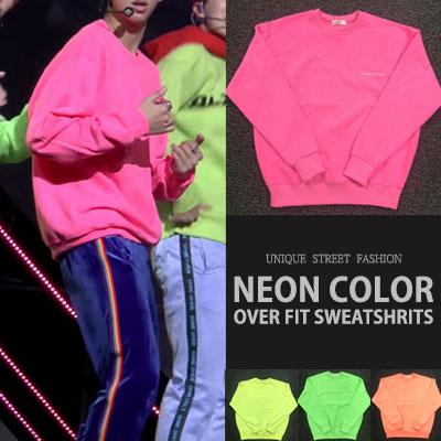 [UNISEX] BTS RM GOGO STYLE! NEON COLOR OVERFIT SWEATSHIRTS(4color)