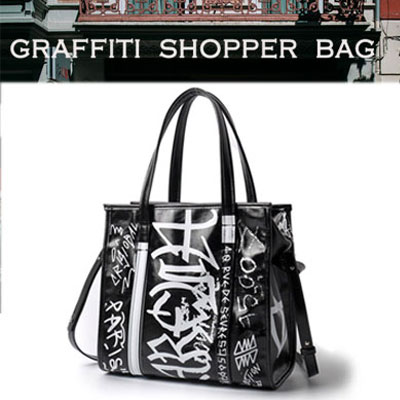 GRAFFITI SQUARE SHOPPER white BAG(S,M)