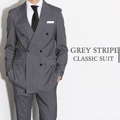 【PABLO】Double Breasted Grey Pinstripe Suit(5size)