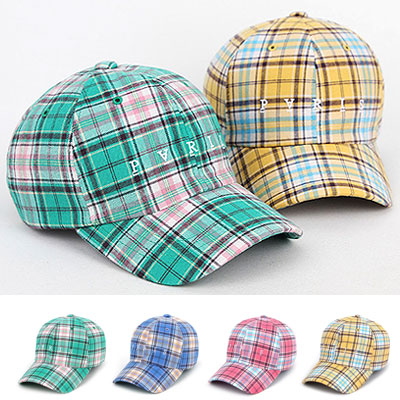 [UNISEX] SPRING COLOR CHECK BALL CAP(4color)