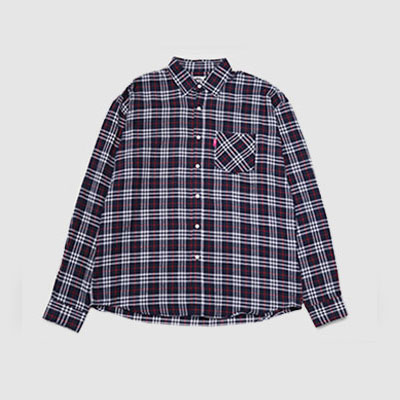 ★40%SALE★[UNISEX] NAVY SMALL CHECK OVERSIZE SHIRTS