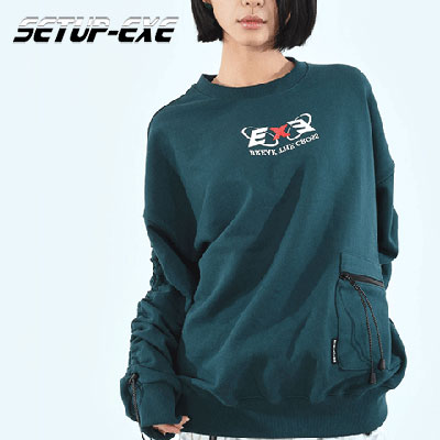 【SETUP-EXE】CORD LOCK SHIRRING SWEAT SHIRT- BLUE/GREEN