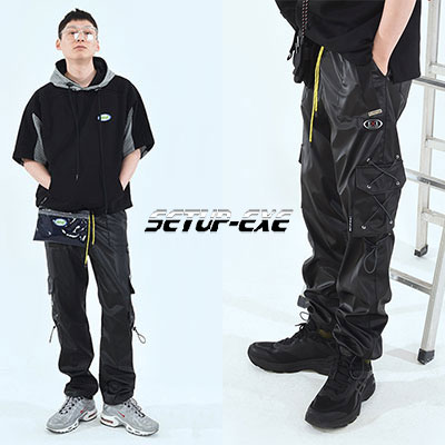 【SETUP-EXE】 SIDE POCKET PANTS - SHINY BLACK