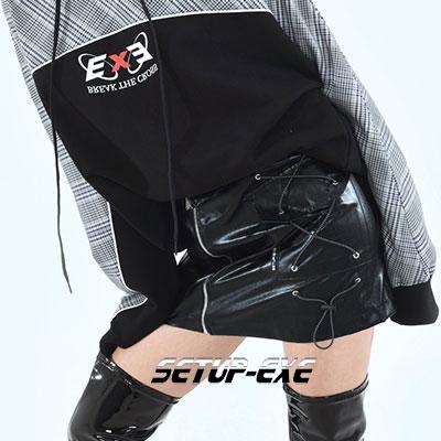 【SETUP-EXE】 SIDE POCKET SKIRT -  BLACK