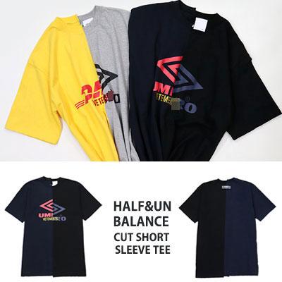 [UNISEX] HALF&UNBALANCE CUT SHORT SLEEVE T-SHIRTS(2color)