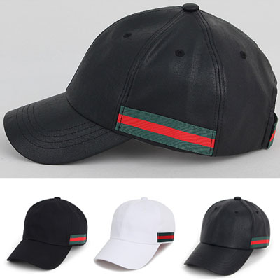 [UNISEX] GREEN/RED TAPE POINT BALL CAP(3color)