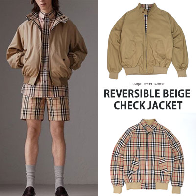 [UNISEX] REVERSIBLE BEIGE CHECK JACKET-beige