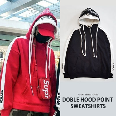 [UNISEX] DOUBLE HOOD LOGO PULLOVER HOODIE(2color)