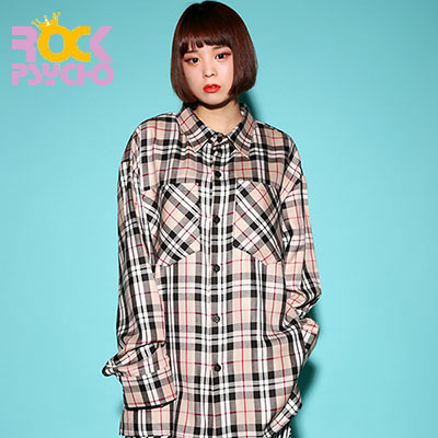 【ROCK PSYCHO】 LONDON CHECK BIG SHIRT-BEIGE