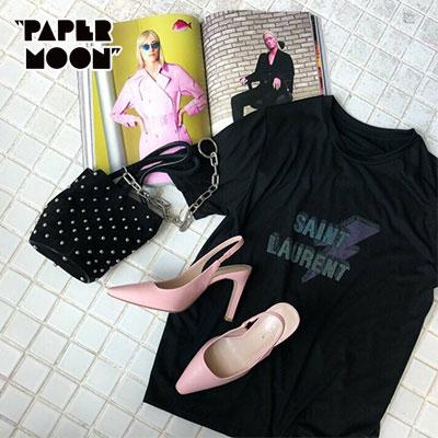 【PAPER MOON】LIGHTNING/VINTAGE LOGO SHORT SLEEVE T-SHIRTS-black