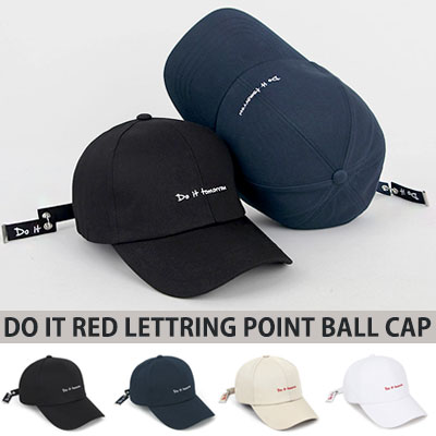 [UNISEX] DO IT RED LETTERING POINT BALL CAP(4color)